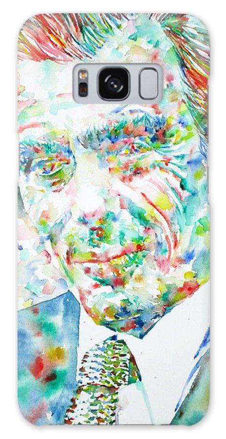 Aldous Huxley Galaxy S8 Case featuring the painting Aldous Huxley - Watercolor Portrait by Fabrizio Cassetta