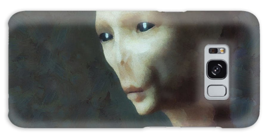 Woman Galaxy S8 Case featuring the painting Alien Grey Thoughtful by Pixel Chimp