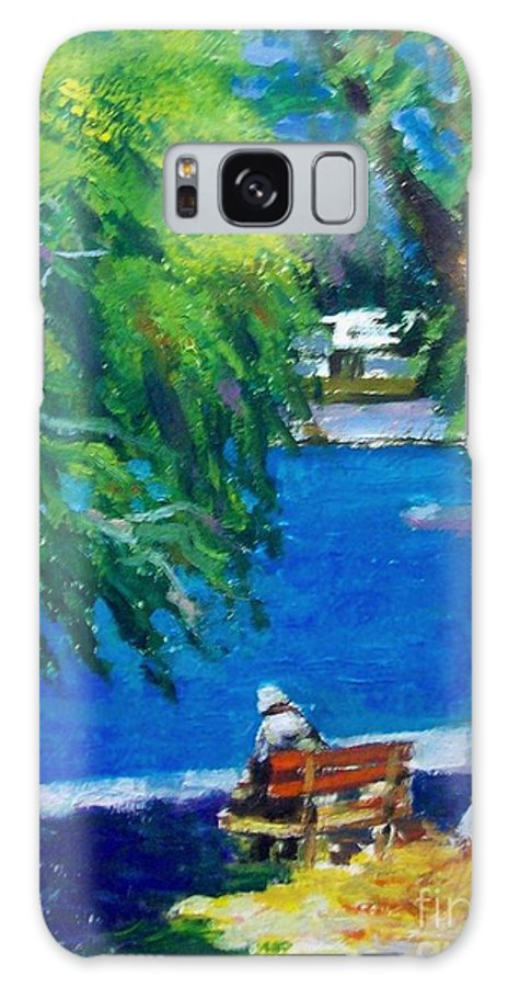 People.alone People.at The Beach.summer Time.thouts Galaxy S8 Case featuring the painting Alone At The Beach by George Siaba