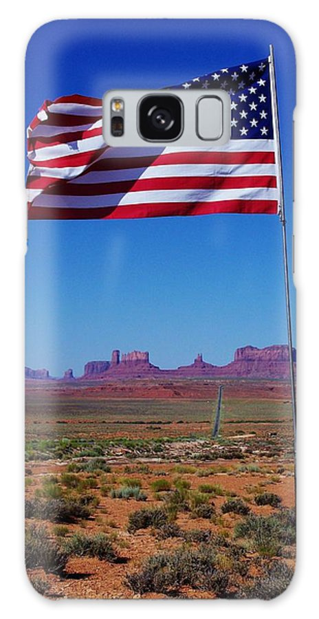 Adventure Galaxy S8 Case featuring the photograph American Flag In Monument Valley by Dany Lison