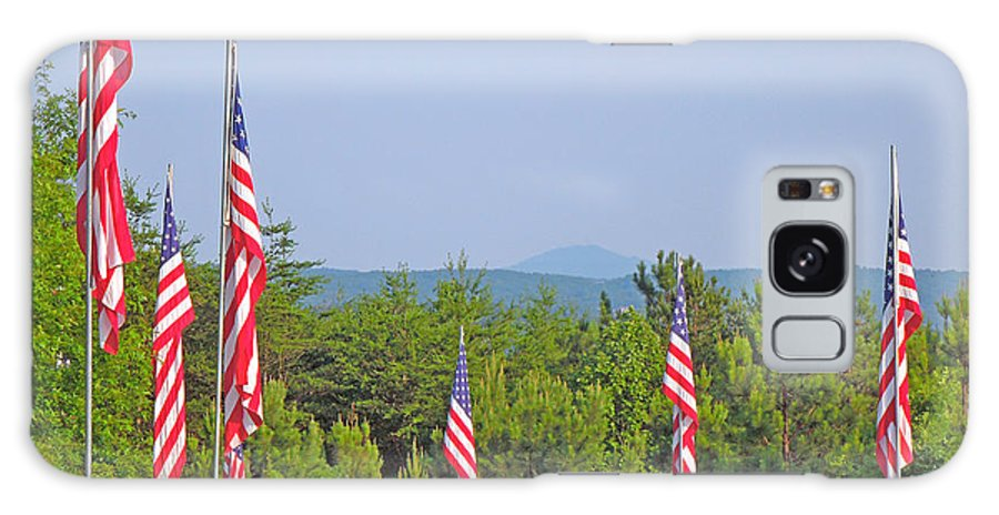 Flag Galaxy S8 Case featuring the photograph American Flags With Kennesaw Mountain In Background by Renee Trenholm