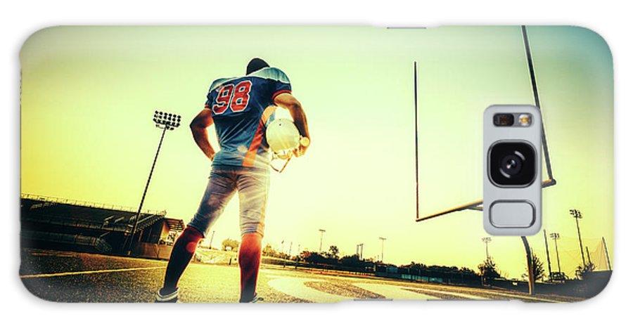 Headwear Galaxy Case featuring the photograph American Football Player by Ferrantraite