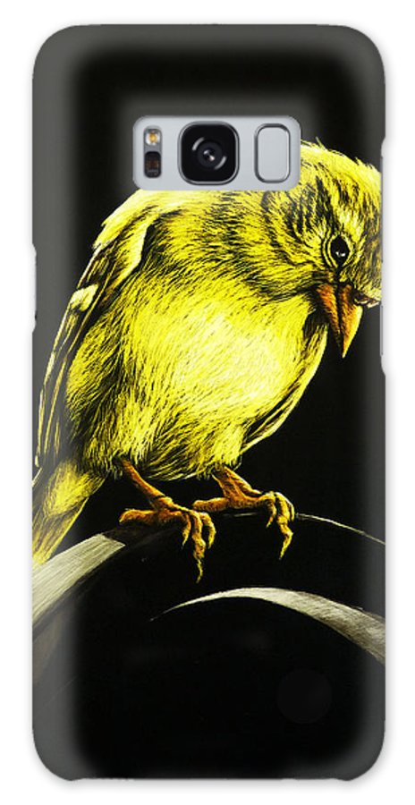 Finch Galaxy S8 Case featuring the drawing American Gold Finch by Monique Morin Matson