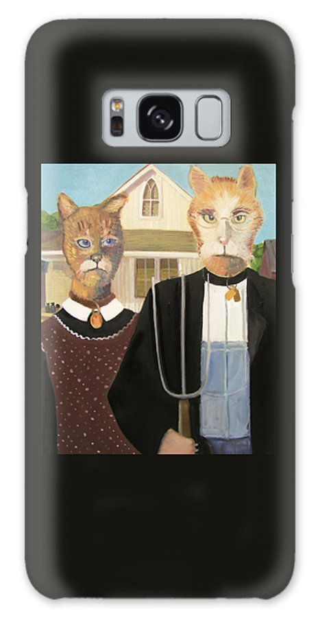 American Gothic Galaxy S8 Case featuring the painting American Gothic Cat by Gail Eisenfeld