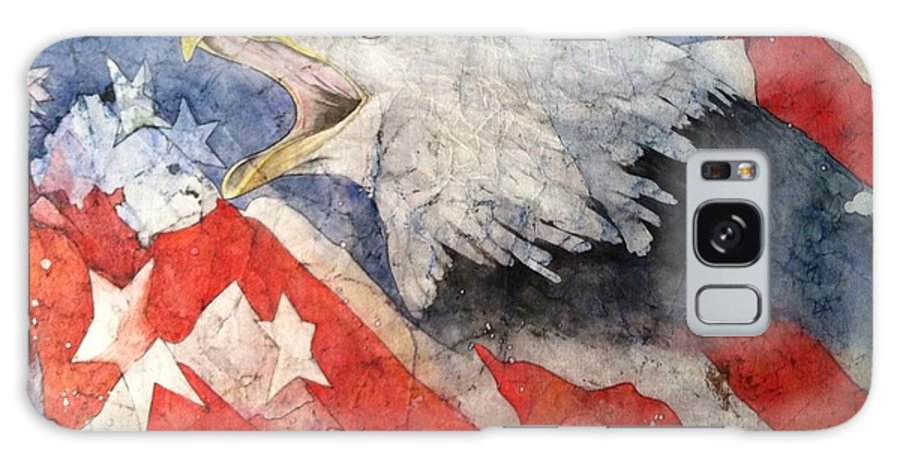 American Eagle With American Flag Galaxy S8 Case featuring the painting American Strength by Julie Wedean