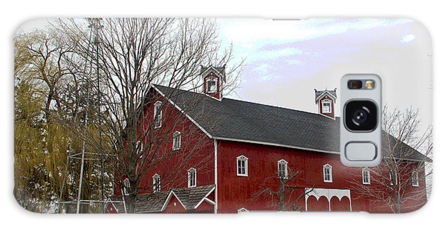 Amish Barn Galaxy Case featuring the photograph Amish Barn And Wind Mill - Allen County Indiana by Suzanne Gaff