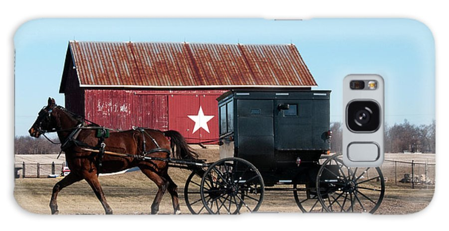 Barn Galaxy S8 Case featuring the photograph Amish Buggy And Star Barn by David Arment