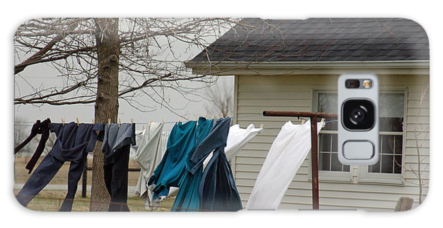 Clothesline Galaxy Case featuring the photograph Amish Washday - Allen County Indiana by Suzanne Gaff