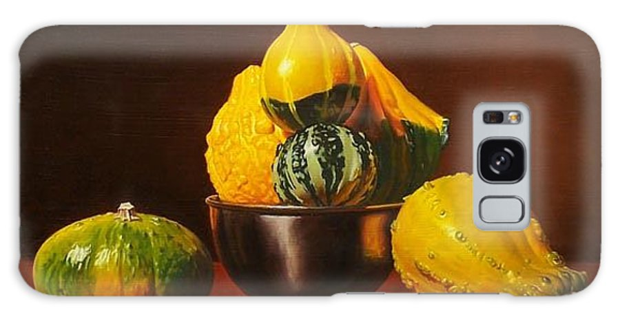 Still Life Galaxy Case featuring the painting An Arrangement Of Gourds by Gary Hernandez