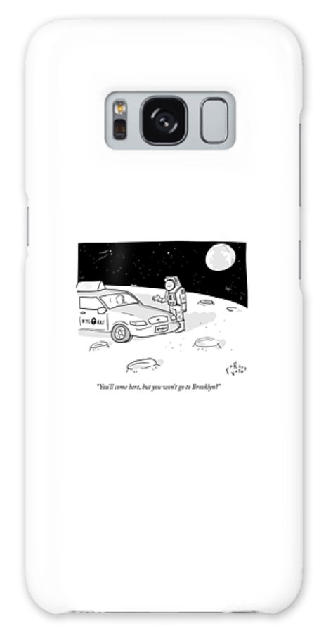 Space Galaxy S8 Case featuring the drawing An Astronaut Says To A Taxi Cab On The Moon by Farley Katz
