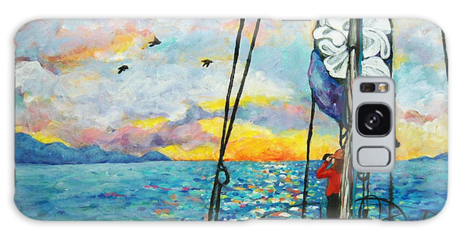 Sunset. Water Galaxy S8 Case featuring the painting Anchored At Sunset by Peggy Johnson