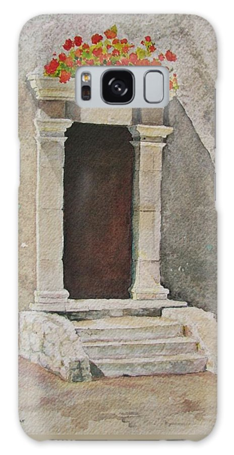 Antique Doorway Galaxy S8 Case featuring the painting Ancient Doorway by Mary Ellen Mueller Legault