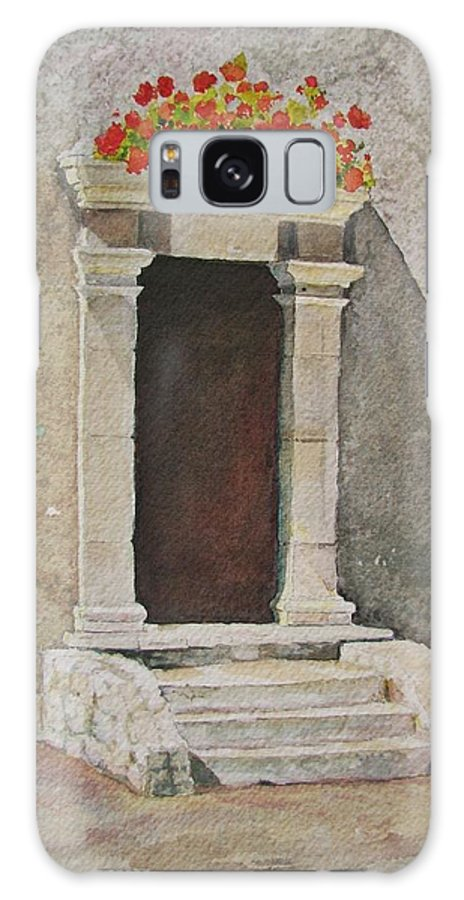 Antique Doorway Galaxy S8 Case featuring the painting Ancient Doorway by Mary Ellen Mueller Legault