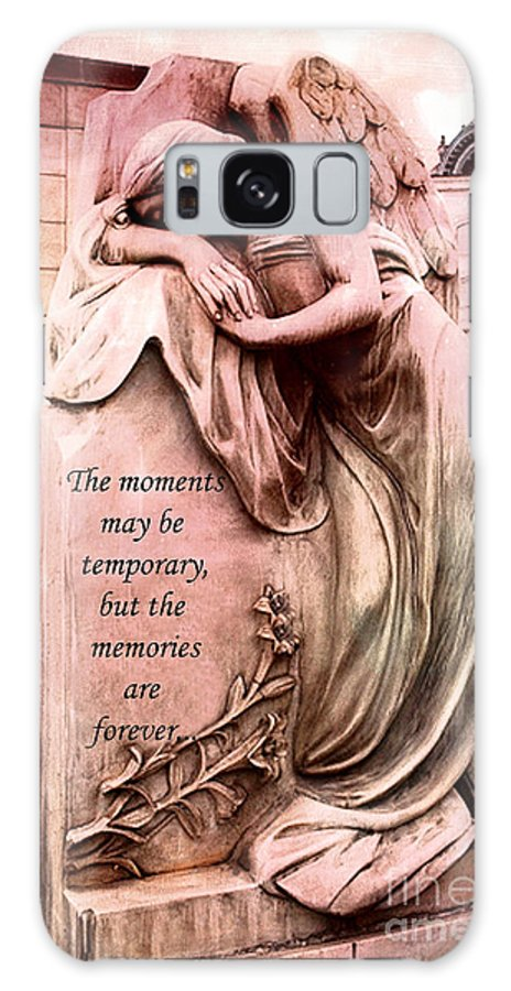 Angel Galaxy S8 Case featuring the photograph Angel Art - Memorial Angel Weeping Sorrow At Grave With Inspirational Message - Memories Are Forever by Kathy Fornal