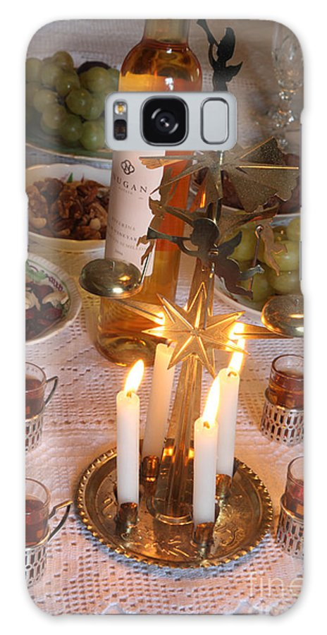 Angel Chimes; Table-setting; Festive; Antique-liqueur-glasses; Candles; Wine; Fruit; Nuts; Stilllife Galaxy S8 Case featuring the photograph Angel Chimes At Midnight by Ros Drinkwater