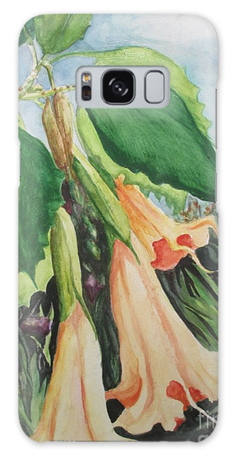 Angel Trumpet Galaxy S8 Case featuring the painting Angel's Trumpet Exotica by Lynn Maverick Denzer