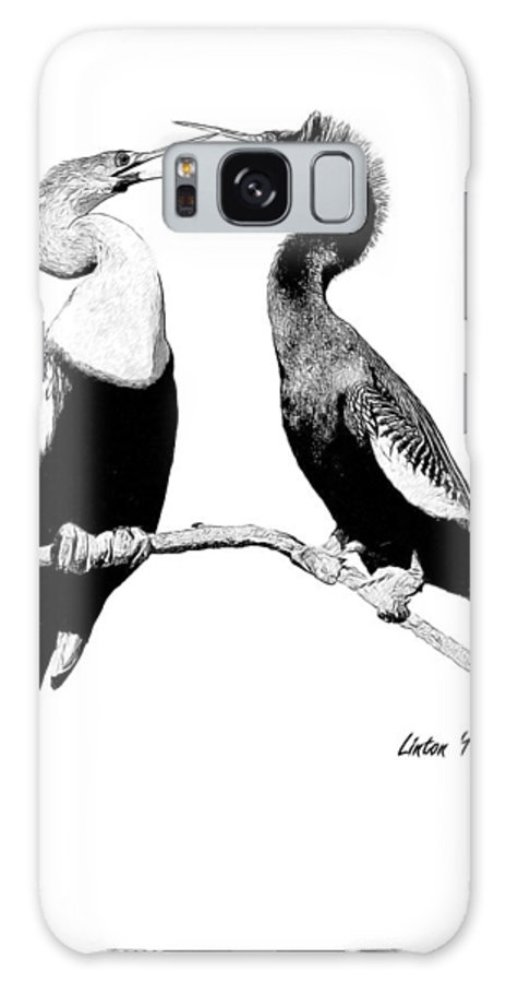 Anhinga Galaxy S8 Case featuring the digital art Anhinga Pair by Larry Linton