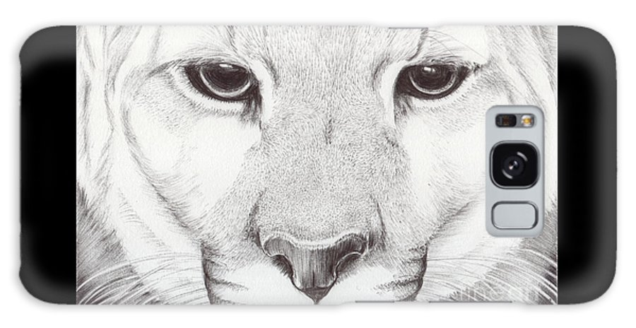 Mountain Lion Galaxy S8 Case featuring the drawing Animal Kingdom Series - Mountain Lion by Bobbie S Richardson
