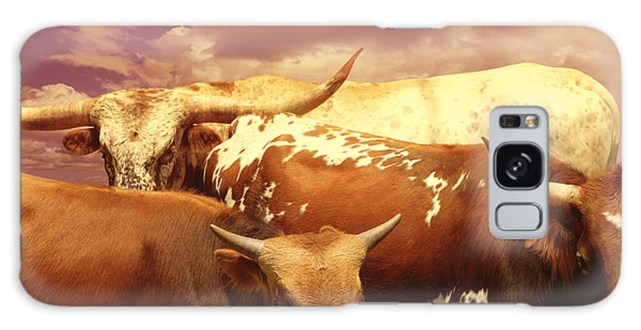 Cow Galaxy S8 Case featuring the photograph animals - cows- Longhorns La Familia by Ann Powell