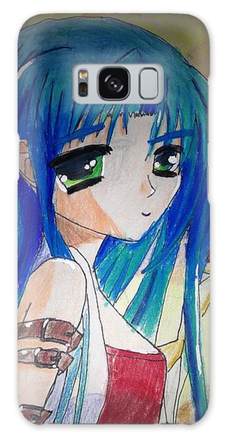 Aqua Blue Hair Galaxy S8 Case featuring the drawing Anime At Sunset by Louis Preston