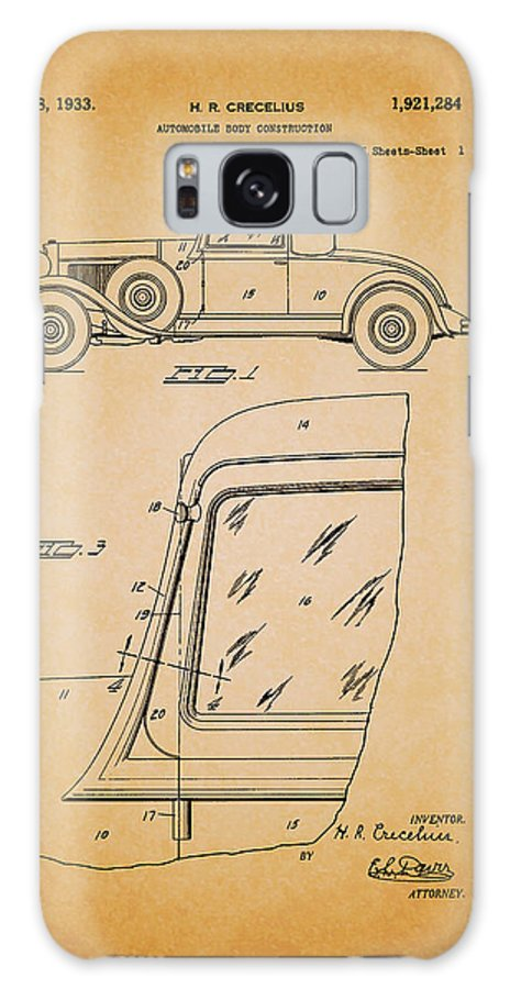 Patent Galaxy S8 Case featuring the drawing Antique Automobile Body Patent 1933 by Mountain Dreams