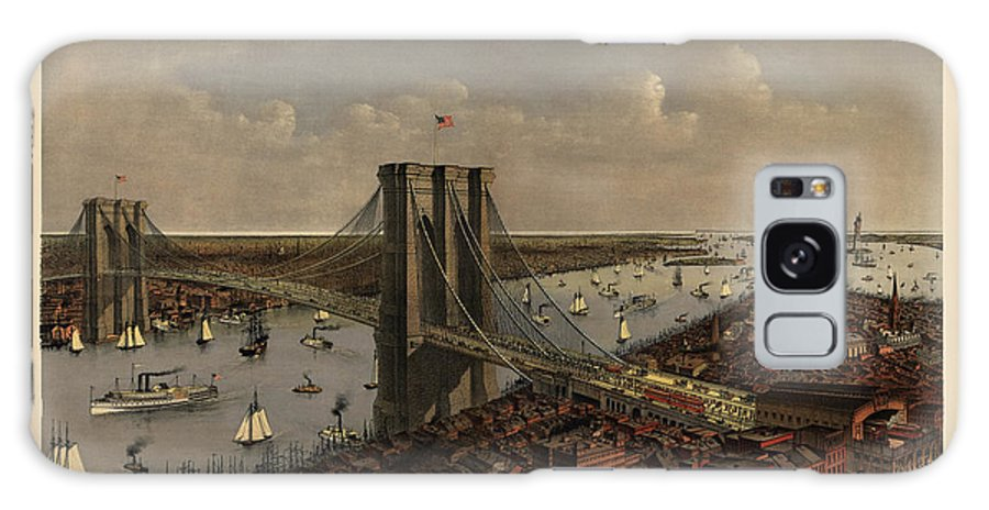Brooklyn Bridge Galaxy S8 Case featuring the drawing Antique Birds Eye View Of The Brooklyn Bridge And New York City By Currier And Ives - 1885 by Blue Monocle