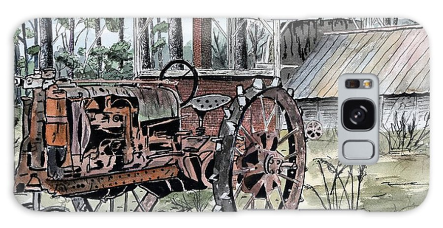 Tractor Galaxy Case featuring the painting Antique Farm Tractor  by Derek Mccrea