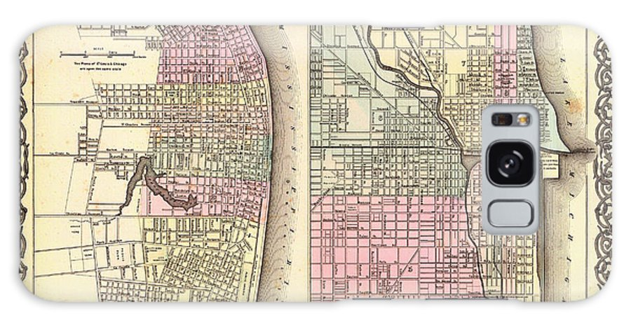Map Galaxy S8 Case featuring the drawing Antique Map Of Chicago And St Louis 1855 by Mountain Dreams