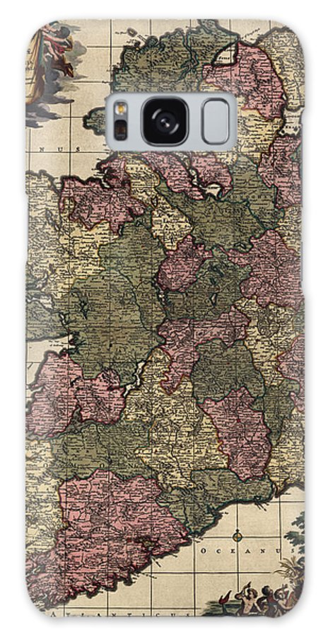 Ireland Galaxy S8 Case featuring the drawing Antique Map Of Ireland By Frederik De Wit - Circa 1700 by Blue Monocle