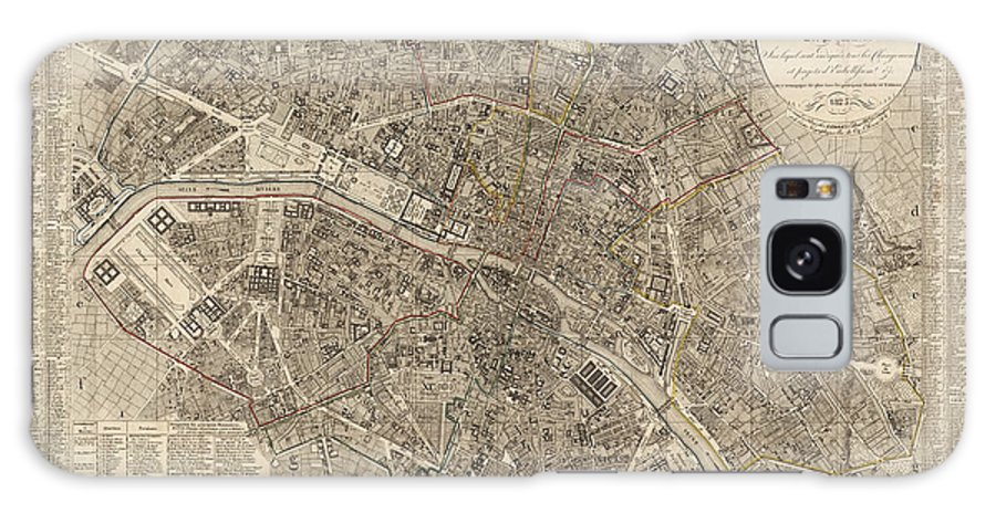 Paris Galaxy S8 Case featuring the drawing Antique Map Of Paris France By Ledoyen - 1823 by Blue Monocle