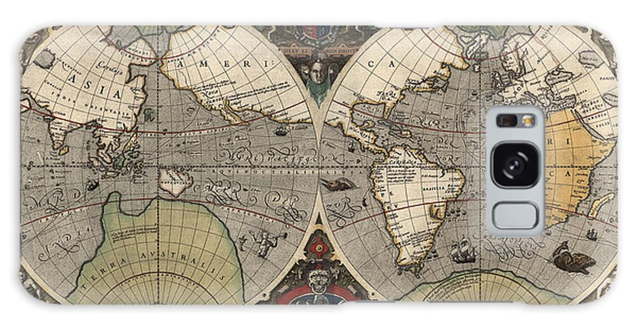 Map Galaxy S8 Case featuring the drawing Antique Map Of The World By Jodocus Hondius - Circa 1565 by Blue Monocle