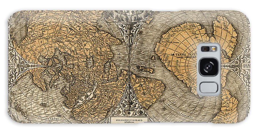 Map Galaxy S8 Case featuring the drawing Antique Map Of The World By Oronce Fine - 1531 by Blue Monocle