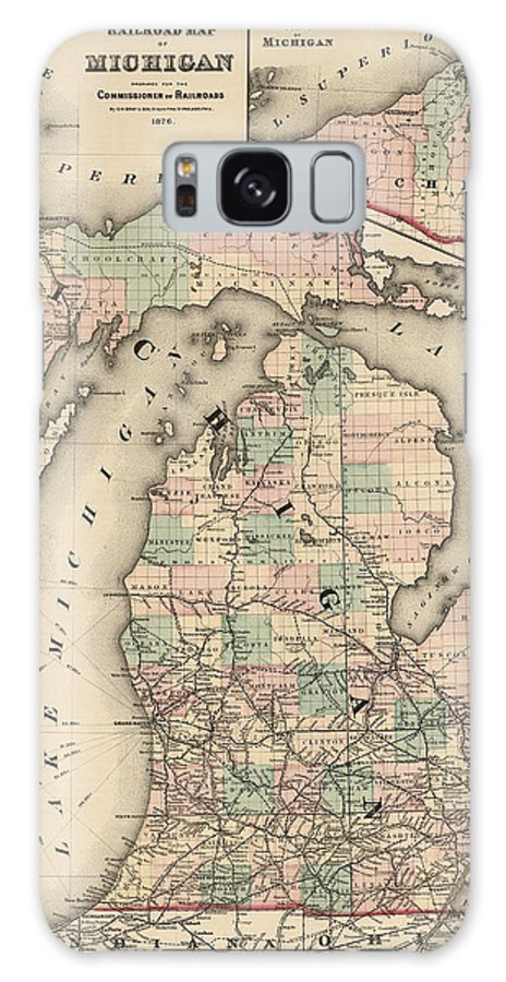 Michigan Galaxy S8 Case featuring the drawing Antique Railroad Map Of Michigan By Colton And Co. - 1876 by Blue Monocle