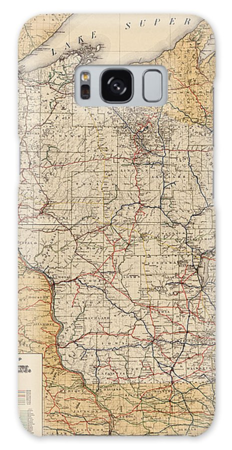 Wisconsin Galaxy S8 Case featuring the drawing Antique Railroad Map Of Wisconsin - 1900 by Blue Monocle