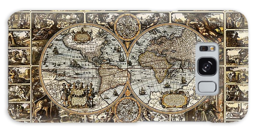 Antique World Map 1660 1670 1680 1690 1700 Decorative Ornate Drawing Pictures Landscapes Landscape Image Images Latitude Latitudes Latitudinal Longitude Longitudes Longitudinal Navigate Navigation Navigational Nautical Mile Tropic Of Cancer Tropic Of Capricorn Arctic Circle Antarctic Seven Continents Five Oceans Continent Ocean North America South America Africa Europe Asia Australia Antarctica Atlantic Pacific Indian Antarctic Artic Cartographer Cartography Cartographic Whaling Fishing  Galaxy S8 Case featuring the drawing Antique World Map Circa 1670 II by L Brown