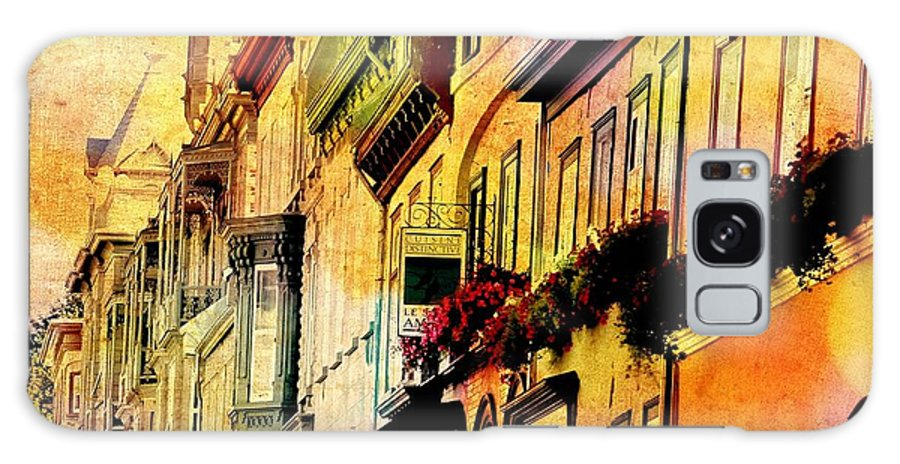 Quebec City Galaxy S8 Case featuring the photograph Antiqued Photograph Of Townhouses by Laura Carter