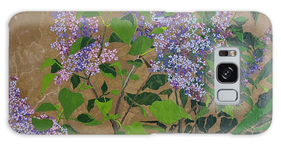 Lilacs Galaxy Case featuring the painting April Lilacs by Leah Tomaino