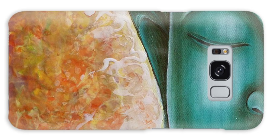 Buddha Galaxy S8 Case featuring the painting Aqua Buddha by Gayle Utter