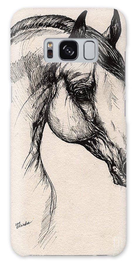 Horse Galaxy S8 Case featuring the drawing Arabian Horse Drawing 24 by Angel Ciesniarska