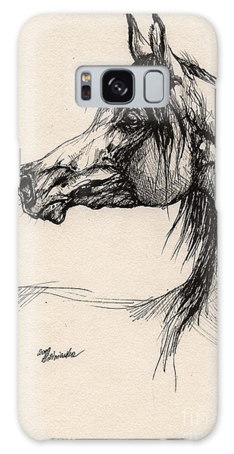 Horse Drawing Galaxy S8 Case featuring the drawing Arabian Horse Drawing 26 by Angel Ciesniarska