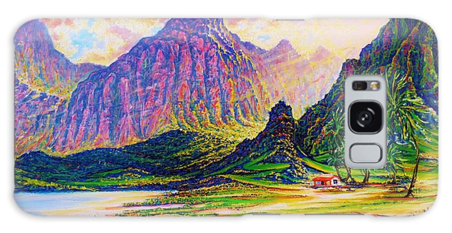 Seascape Water Landscape Moutains Ridges Forest Palms Sand Greens Blues Yellows Sky Colors Purples Pinks Yhouse Hawaii Tropical Islands Coast Beach Pond River Oahu Oils Canvas Galaxy S8 Case featuring the painting Around The Bend I by Joseph  Ruff