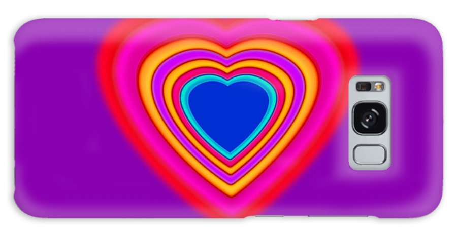 Art Galaxy S8 Case featuring the painting Art Heart Blue by Charles Stuart