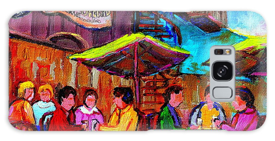 Ye Olde Orchard Taverne Galaxy S8 Case featuring the painting Art Of Montreal Enjoying A Pint At Ye Olde Orchard Irish Pub And Grill Monkland Village Cafe Scenes by Carole Spandau