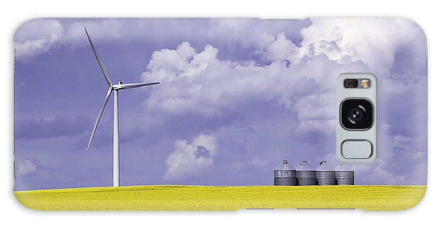 Light Galaxy S8 Case featuring the photograph Artists Choice Wind Turbine And Canola by Ken Gillespie