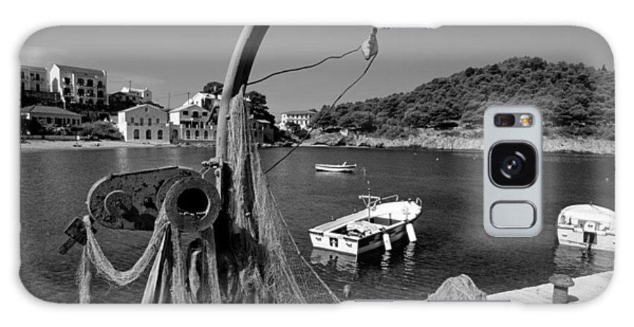 Kefalonia; Kefallonia; Kefallinia; Asos; Fishing; Nets; Ionio; Ionian; Island; Greece; Hellas; Greek; Hellenic; Village; Town; Boat; Boats; Capon; Sea; Holidays; Vacation; Travel; Trip; Voyage; Journey; Tourism; Touristic; Summer; Port; Harbor; House; Houses; Black And White; Black + White; B/w; B&w; B+w; Islands Galaxy S8 Case featuring the photograph Asos Village by George Atsametakis
