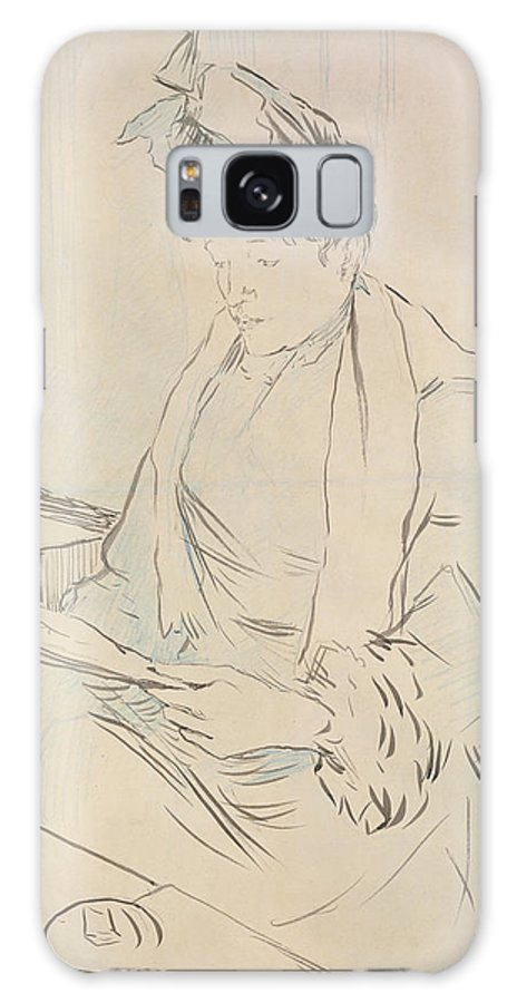 Female Galaxy S8 Case featuring the drawing At The Cafe by Henri de Toulouse-Lautrec