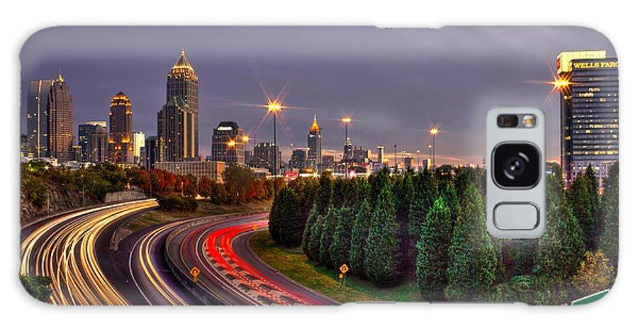 Reid Callaway Midtown Atlanta Sundown Galaxy S8 Case featuring the photograph Atlanta Sundown Night Lights Art by Reid Callaway