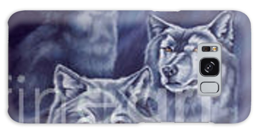 Wolf Galaxy S8 Case featuring the painting Aurora Wolves by Wendy Froshay