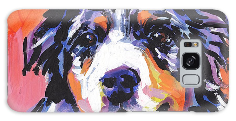Australian Shepherd Galaxy S8 Case featuring the painting Aussie Luv by Lea S