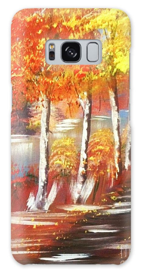 Collin A. Clarke Galaxy S8 Case featuring the painting Autumn Falling Leaves by Collin A Clarke